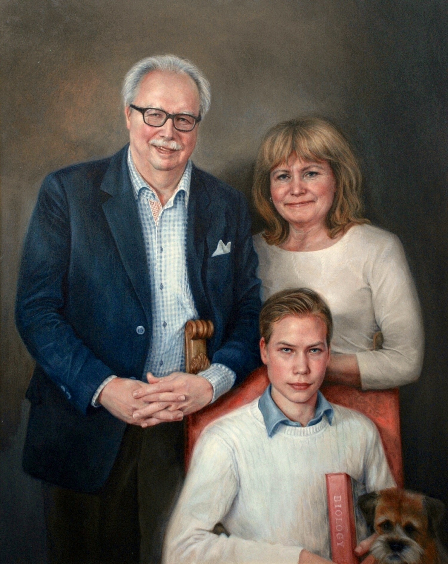 Familjeporträtt i olja