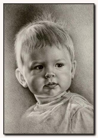 blyertsporträtt barn