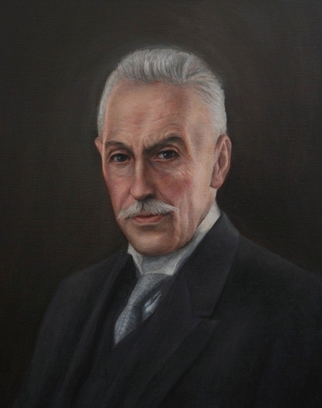 Dr. Claes Oscar Engström, ett oljeporträtt målat från kundens svartvita fotografi taget år 1925